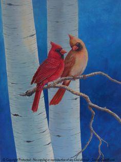 Bird art Red cardinal painting Canvas wall art von ArtFromDenise