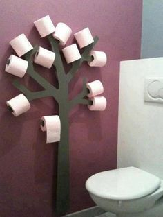 "Toilet paper tree - or, paint a large campfire on the wall and have big sticks on which to hold the ""marshmallows"""