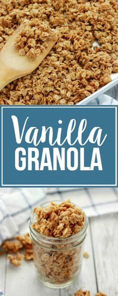 Vanilla Granola Recipe - Easy and Delicious! - One Sweet Appetite Homemade Vanilla Granola<br> This fragrant Vanilla Granola is my go-to for a quick breakfast or snack. Enjoy it as-is or use as a starting point for your favorite add-in's! Quick Oat Recipes, Gourmet Recipes, Snack Recipes, Cooking Recipes, Oats Recipes, Fruit Recipes, Drink Recipes, Cooking Tips, Healthy Recipes