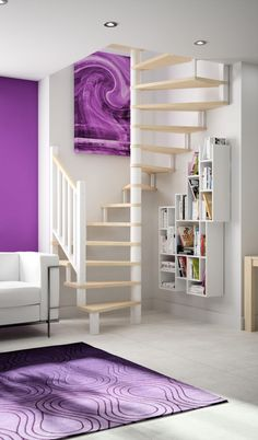 Wood can be easily shaped according to the design you want. Small Space Staircase, Wooden Staircase Design, Spiral Stairs Design, Loft Staircase, Home Stairs Design, Wooden Staircases, Home Interior Design, House Design, Attic Bedroom Designs