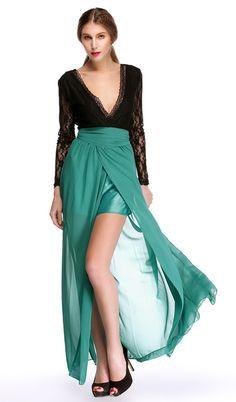 Mujeres Finejo sexy de encaje de gasa Splice Sin espalda Vestido largo con cuello en V profundo de manga larga de cintura alta Frente de Split vestido