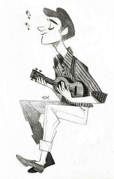 a guy playing ukulele