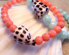 Peach Coral and Seashell Stretch Bracelet. Hawaiian Style Beach Bracelet with Cone Shell. Pink Faceted Semi Precious Gemstone Bead Bracelet. - Edit Listing - Etsy