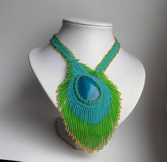 RESERVED....Agate Necklace Embroidery Peacock feather
