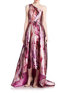 Pamella, Pamella Rolland Orchid-Print Sateen Gown