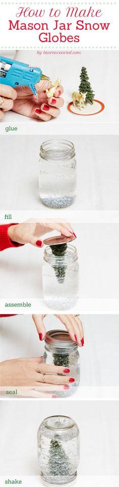 Lauren Conrad:  How to make Mason jar snow globes.