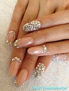 Wedding nails cover pink crystals