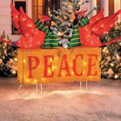 Peace with Cardinals Outdoor Christmas Decoration