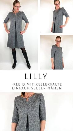 Lilly ist einfach ein Traum für kältere Jahreszeiten.  Schlicht, aber nicht langweilig und vor allem bequem ;)  Mit Lilly kannst Du natürlich auch wunderbar spielen und Dir ganz verschiedene Versionen nähen. Variiere die Höhe des Schlitzes, nähe Shirt oder Kleid, mit Bubikragen oder Beleg.  Du siehst, der Schnitt wird nie langweilig.  Lilly wurde in den Größen 34-50 für Jacquard und festere dehnbare Stoffe gradiert.