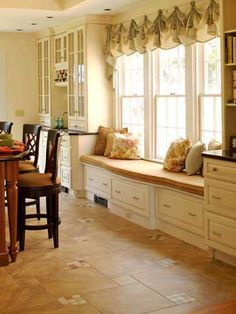 Kitchen : Kitchen Window Seats Design Ideas How To Build Window Seat' Storage Seating' Window Storage Bench along with Kitchens Window Seat Kitchen, Window Seat Storage, Window Seats, Bay Window, Banquette, My Living Room, New Kitchen, Kitchen Nook, Space Kitchen