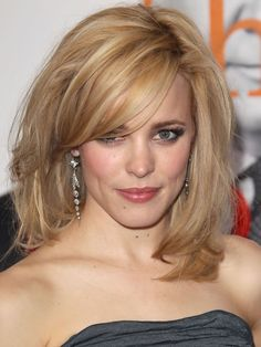 Rachel McAdams tousled mid-length straight hair with side bang: http://beautyeditor.ca/2014/05/22/hairstyles-for-long-straight-hair/