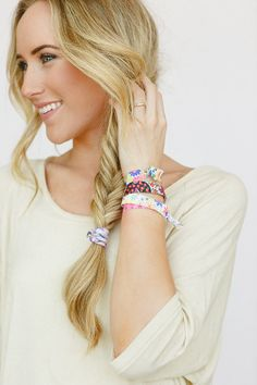 Love this photo - bracelet shot Stretchy Hair Ties Ponytail Holder Double as by ThreeBirdNest, $8.99