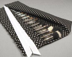 Large Makeup Brush Roll Holder Organizer, Polka Dot, Black/White - In Stock Ready To Ship