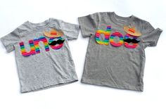 Uno Or Dos //Rainbow Theme Birthday//Sombrero//Mustache// Fabric Iron On Appliques by onceuponadesign.etsy.com