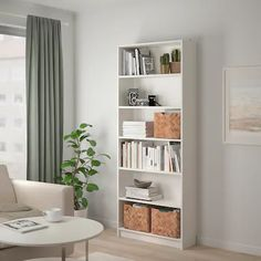 bamboo - Search - IKEA Storage Boxes With Lids, Small Storage, Storage Baskets, Media Storage, Storage Containers, Bookcase With Glass Doors, Glass Cabinet Doors, Bookcase White, Billy Oxberg