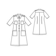 Button Down Shirtdress  - Line Art