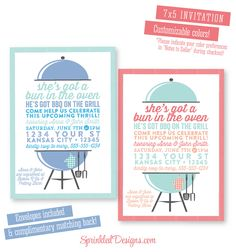 Baby Q Baby Shower Invitation - BabyQ BBQ Baby-Q Boy Girl Gender Neutral - Bun In the Oven Burgers on Grill - Couples Shower Invites by SprinkledDesigns.com