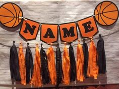 Basketball Theme Sports Birthday Party Wall Tassel Garland, Personalized Custom Name Banner Bunting, Birthday Party Tables, Birthday Party Decorations, Birthday Basket, Table Party, 16th Birthday, Basketball Decorations, Locker Decorations, Basketball Birthday Parties, Sports Birthday