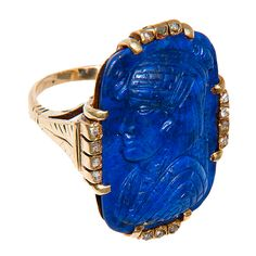 View this item and discover similar for sale at - Circa: 1915 Yellow Gold, Lapis Lazuli and Diamond set Egyptian Revival Ring. Very Nice carving from a good thick piece of Lapis. Key Jewelry, Enamel Jewelry, Jewelry Art, Antique Jewelry, Jewelery, Vintage Jewelry, Jewelry Design, Jewelry Rings, Bridal Jewelry