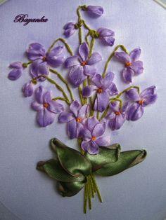 Violets #ribbonEmbroidery