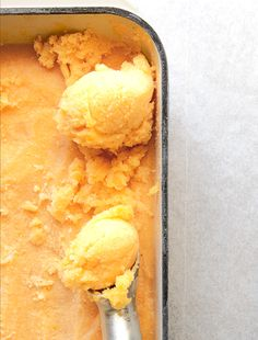Apricot Sorbet Floats... apricots, sparkling wine, and sugar.