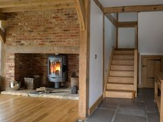 Barns & Contemporary - Border Oak - oak framed houses, oak framed garages and structures. Inglenook Fireplace, Fireplace Design, Barn Conversion Interiors, Cottage Stairs, Border Oak, Farm Cottage, Irish Cottage, Oak Frame House, England Houses
