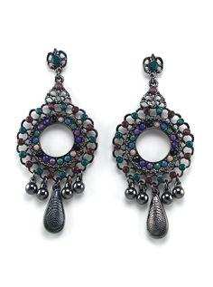 Metal Beaded Chandelier Earrings