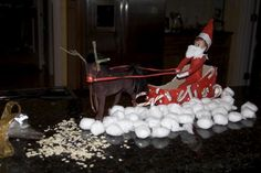 elf / cotton ball snow, reindeer food (oats), santa mask and horse turned rudolph