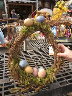 """""""Bunny"""" Egg Wreath made @ Bristol's Garden Center (Victor, NY) during our March 9 class. This class used aged grapevine, moss, and blown out eggs to create spring-sational wreaths!"""