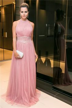 Halter Open-Back Prom Dress,Long Candy-Pink Party Dress,Sleeveless Beaded Evening Dress