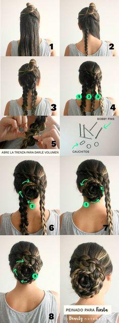 Peinado para fiesta en 5 minutos - Recogido fácil con trenzas #peinadoscontrenzas #peinadosrecogidos