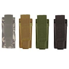 """Retention strap is fully adjustable for short or tall mags. Secures to your universal vest, belt or platform. Quick open assist tabs with squared bottom and metal drain grommets. Single Pistol Mag Pouch with universal straps. Single pouch also holds flashlight or knife.Dimensions: 2″L X 1¾""""W X 5″H"""