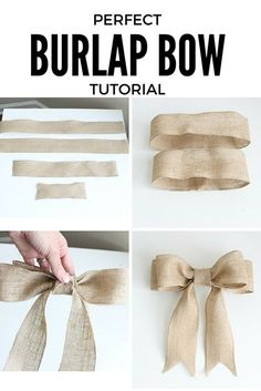 DIY burlap bow tutorial for beginners! Concise, step-by-step directions with pictures. This bow is PERFECT and can be used in a variety of ways. Diy Bow, Diy Ribbon, Ribbon Bows, Ribbons, Burlap Crafts, Burlap Bows, Christmas Bows, Christmas Crafts, Burlap Bow Tutorial