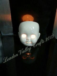 Ceramic dolls head Tealight holder. Www.Facebook.com / leadonvalley