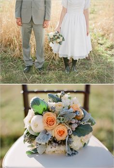 @Nancy Christner, peach and green wedding bouquet. that peach color is identical to the Nordstrom bridesmaid dresses.