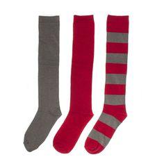 Red + Grey 3-Pack Knee-High Socks
