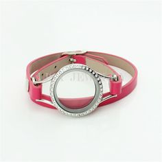 2016 Hot Sale Stainless Steel Crystal Round Pink Leather Wrap Glass Floating Locket Bracelet For Charms Locket Bracelet, Bangle Bracelets, Bracelet Watch, Bangles, Floating Lockets, 316l Stainless Steel, Pink Leather, Charms, Crystals