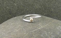 Simple Sterling Silver and Gold Wrap Ring, Minimalist Silver and Gold Ring, Modern, Contemporary. Handmade Jewelry By ZaZing by ZaZing on Etsy