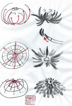 Resultado de imagem para sumi-e kiku Chinese Brush, Chinese Art, Asian Artwork, Neue Tattoos, Japanese Calligraphy, Tattoo Designs, Digital Art Tutorial, Illustration Sketches, Cat Tattoo