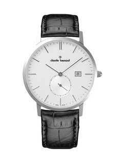 Claude Bernard 65003 3 AIN Men's Watch Swiss Made Silver Dial With Black Leather Strap