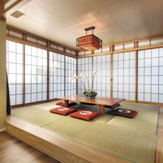 Furniture : Cool Japanese Room Decoration Along With Wood Area Rug On Laminated Floor Together Varnished Wood Low Table With Red Floral Floor Cushion - Interior Japanese Room Design
