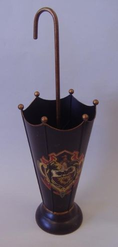 Lot:239: Armorial Tole Painted Umbrella Stand, Lot Number:239, Starting Bid:$40, Auctioneer:Klein James, Auction:239: Armorial Tole Painted Umbrella Stand, Date:04:00 PM PT - Apr 26th, 2012