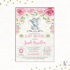 Elephant baby shower invitationelephant with flowers elephant pink elephant baby shower invitation by bluebunnyprintables filmwisefo