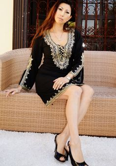 Black with Gold Embroidery Traditional by MaisonMarrakech on Etsy