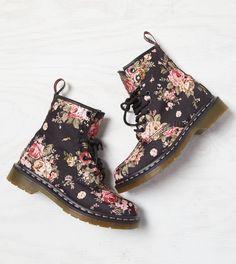 Black Dr. Martens 1460 Floral Boot