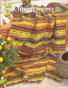 Padrão Cobertor afegão Crochê Sudoese Malha itens decorativos Criações -  /     Pattern Afghan Blanket Crochet Southwest Knit Knacks Creations -