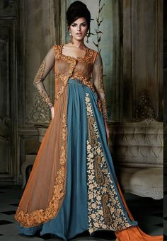 #Blue And #Orange #Georgette #Chuddidar #Kameez with #Dupatta  #Blue And #Orange #Georgette #kameez designed with Zari,Resham Embroidery With #Stone #Work And Lace Border Work.  INR: 6,412 only  With #Amazing #Discounts  Grab At http://tinyurl.com/pnsvofj