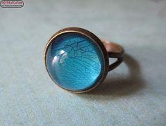 Bronzering Cabochon Crackle Look blau/türkis