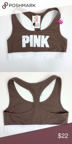 VS PINK Crop Pastel Brown sports bra (Small) ✨ very comfortable and you can wear anywhere. ✨ PINK Victoria's Secret Intimates & Sleepwear Bras
