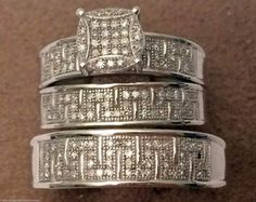 White Gold His Her Mens Woman Diamonds Wedding Ring Bands Trio Bridal Set (0.52ct. tw)- RG331257892403